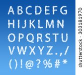 english alphabet from clouds on ... | Shutterstock . vector #303181970