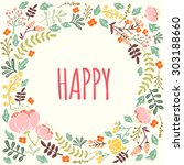 stylish cute colourful floral... | Shutterstock .eps vector #303188660