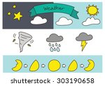 freehand drawing forecast | Shutterstock .eps vector #303190658