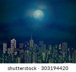 vector city skylines with... | Shutterstock .eps vector #303194420