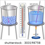 temperature   ice and boiling...   Shutterstock .eps vector #303198758