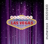 vector las vegas sign on purple ... | Shutterstock .eps vector #303201833