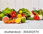 fruit and vegetable borders  | Shutterstock . vector #303202574
