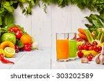 various freshly vegetable... | Shutterstock . vector #303202589