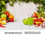 various freshly vegetable... | Shutterstock . vector #303202610