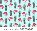 watercolor tropical pineapples ... | Shutterstock . vector #303206948