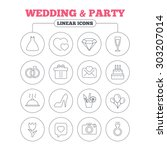 wedding and party icons. dress  ... | Shutterstock .eps vector #303207014