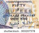 50 mauritian rupees bank note....   Shutterstock . vector #303207578