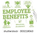 employee benefits. chart with... | Shutterstock .eps vector #303218063