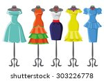 woman dresses on a hanger and... | Shutterstock .eps vector #303226778