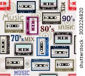 seamless pattern with cassette  ... | Shutterstock .eps vector #303226820