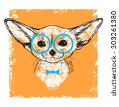 vintage portrait of a fennec... | Shutterstock .eps vector #303261380