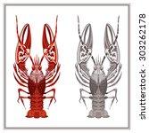 decorative ornament crayfish on ... | Shutterstock .eps vector #303262178