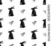 seamless pattern with hares.... | Shutterstock .eps vector #303264890