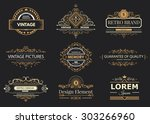 retro vintage labels insignias... | Shutterstock .eps vector #303266960