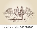 Hand drawn of two cowboys riding horses in desert - stock vector