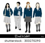 back to school . group of... | Shutterstock .eps vector #303270293