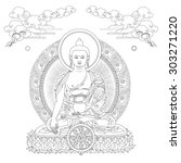 vector illustration with buddha ... | Shutterstock .eps vector #303271220