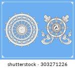 dharma wheel  dharmachakra... | Shutterstock .eps vector #303271226