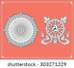 dharma wheel  dharmachakra... | Shutterstock .eps vector #303271229