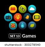 flat icons vector set 13   game ...