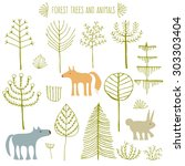 hand drawn forest vector set.... | Shutterstock .eps vector #303303404