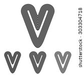 grey line v logo design set