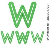 green line w logo design set