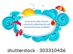 seascape waves poster with... | Shutterstock .eps vector #303310436
