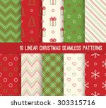 10 christmas different linear... | Shutterstock .eps vector #303315716