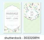 wedding invitation  thank you... | Shutterstock .eps vector #303320894