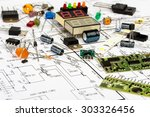 electronic components ...   Shutterstock . vector #303326456