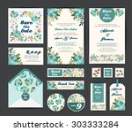 wedding floral template... | Shutterstock .eps vector #303333284