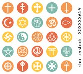 vector set of religious symbols | Shutterstock .eps vector #303333659