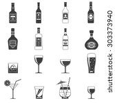 alcohol black icons set with... | Shutterstock .eps vector #303373940