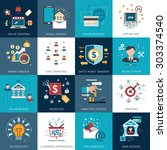 online internet banking secure... | Shutterstock .eps vector #303374540