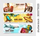 travel horizontal banner set... | Shutterstock .eps vector #303375020