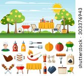 family barbeque picnic in the... | Shutterstock .eps vector #303376943