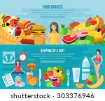 healthy food choice for... | Shutterstock .eps vector #303376946