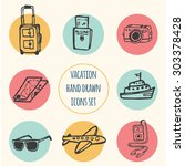 hand drawn vector icons set ... | Shutterstock .eps vector #303378428