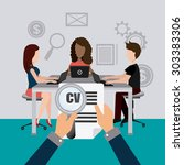 job and work design  vector... | Shutterstock .eps vector #303383306