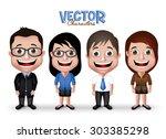 set of realistic 3d... | Shutterstock .eps vector #303385298