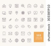 seo outline icons for web and... | Shutterstock .eps vector #303385910