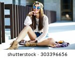 funny stylish sexy smiling... | Shutterstock . vector #303396656