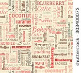 bakery words  tags. seamless... | Shutterstock . vector #303400073