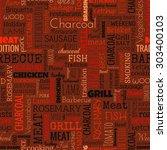 bbq word seamless pattern on... | Shutterstock . vector #303400103
