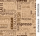 coffee words  tags. seamless... | Shutterstock . vector #303400106