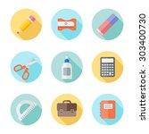 set of school supplies flat... | Shutterstock .eps vector #303400730