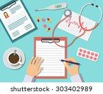 medical workplace. doctor...   Shutterstock . vector #303402989