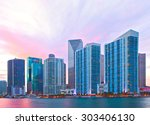 city of miami florida  night... | Shutterstock . vector #303406130